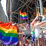 Large crowds gather for the annual LGBTQ Pride March in Manhattan on June 25, 2017.