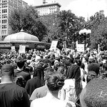 A Manhattan Crowd Gathers to Peacefully Protest a Florida Court's Decision to Allow Defendant George Zimmerman to Walk Free After Killing 17 year old Trayvon Martin in Florida.